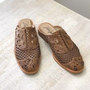 Free People Laser Cut Leather Mules